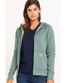 Carhartt Women's Clarksburg Hooded Sweatshirt, Heather Green, hi-res