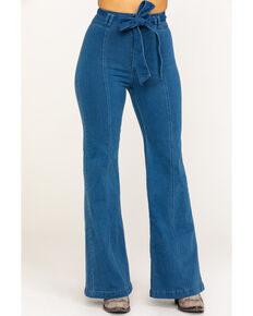 Flying Tomato Women's Tie High Waist Trouser, Blue, hi-res