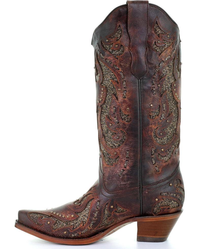 Corral Women's Cognac Glittered Inlay & Stud Boots - Snip Toe , Cognac, hi-res