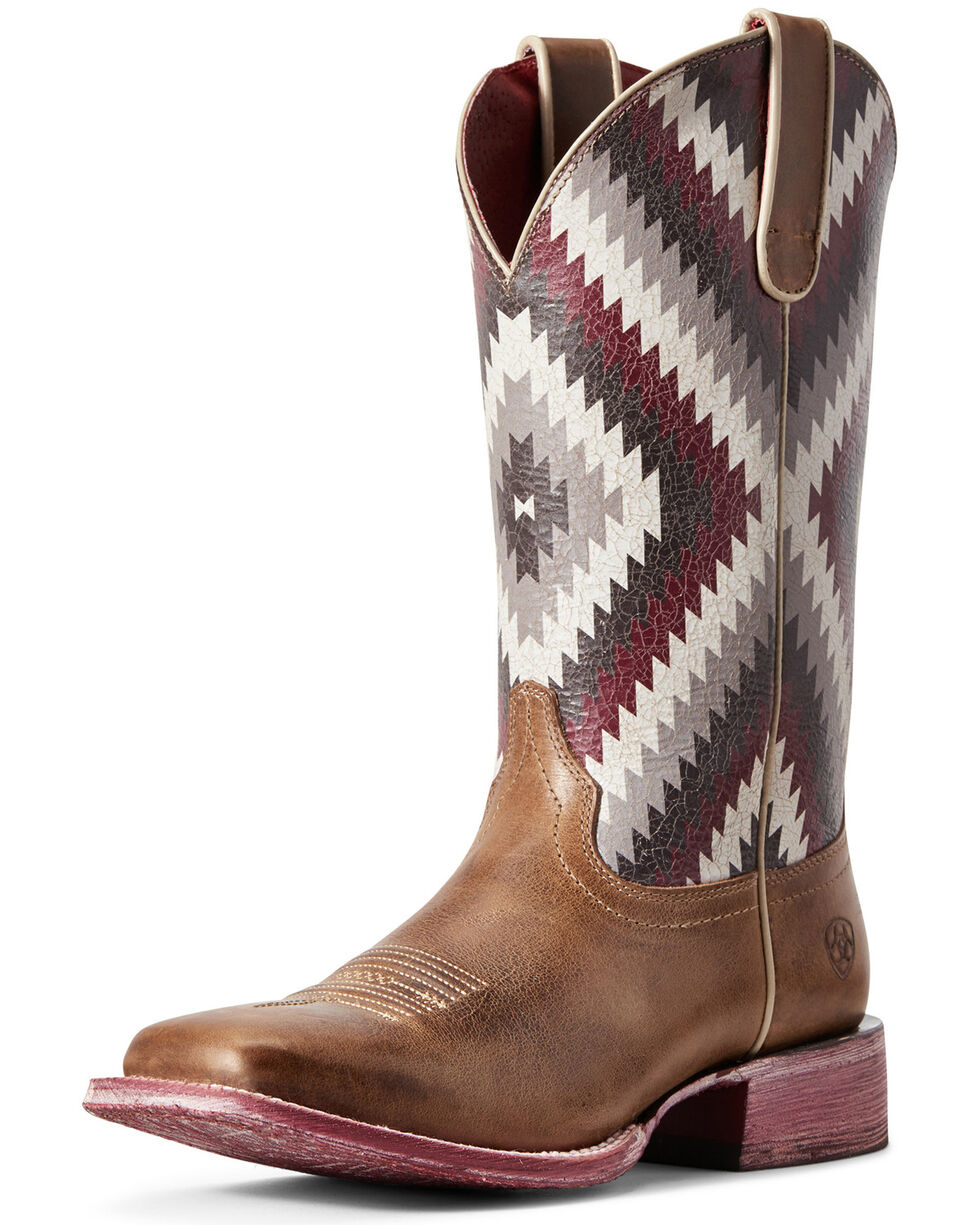 Ariat Women's Aztec Savanna Western Boots - Wide Square Toe, Brown, hi-res