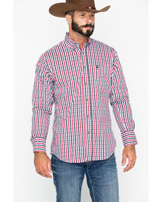 Wrangler Men's Small Plaid Performance Long Sleeve Western Shirt , Black/red, hi-res