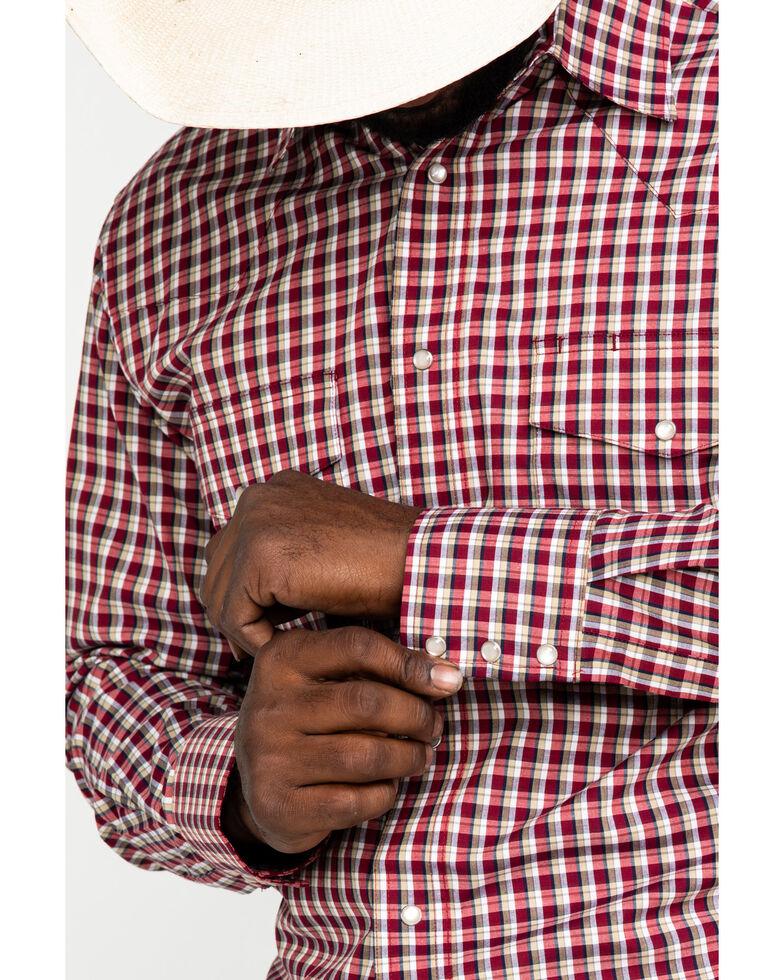 Wrangler Men's Wrinkle Resist Red Small Plaid Long Sleeve Western Shirt , Red, hi-res