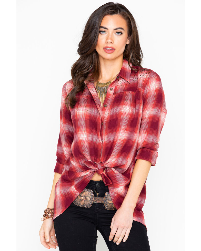 Shyanne Women's Plaid Studded Open Back Flannel Shirt , Rust Copper, hi-res