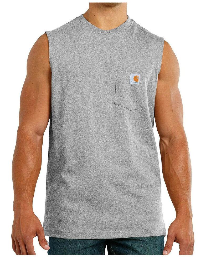 Carhartt Workwear Pocket Sleeveless Shirt - Big & Tall, Heather Grey, hi-res
