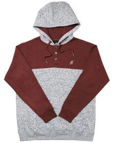 HOOey Men's Grey & Maroon Jimmy Color Blocked Hooded Sweatshirt , Maroon, hi-res
