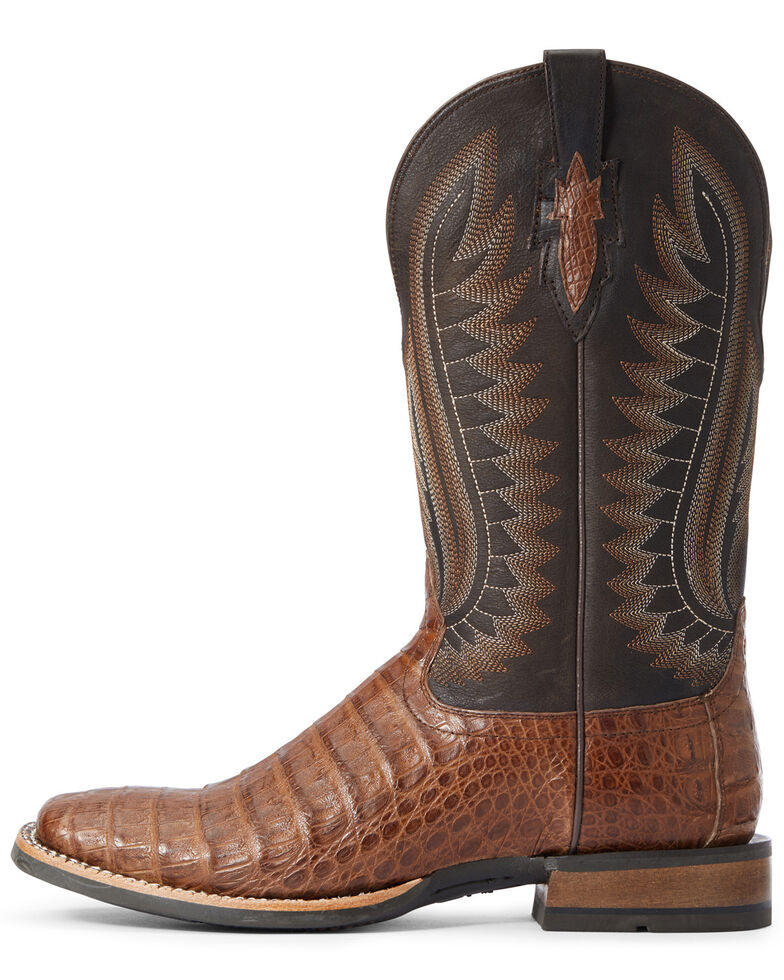 Ariat Men's Caramel Caiman Belly Western Boots - Wide Square Toe, Black, hi-res