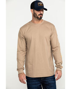 Cody James Men's FR Logo Long Sleeve Work Shirt - Tall , Beige/khaki, hi-res