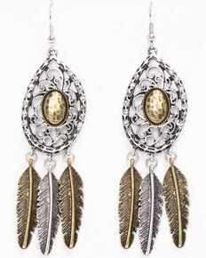 Shyanne Women's 2-Tone Multi Feather Charm Earrings, Silver, hi-res