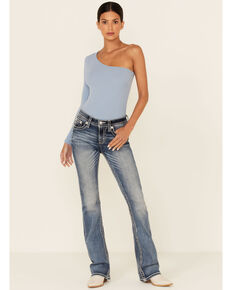 Miss Me Women's Slithered Braid Bootcut Jeans, Blue, hi-res