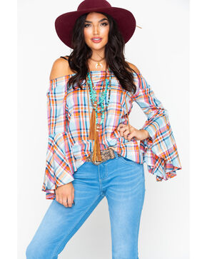 Panhandle Women's Plaid Off Shoulder Bell Long Sleeve Top , Coral, hi-res