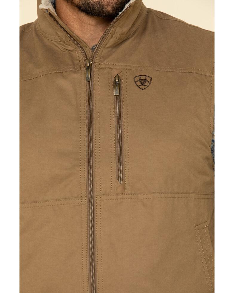 Ariat Men's Grizzly Canvas Sherpa Vest , Brown, hi-res