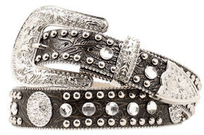 Blazin Roxx Floral Embossed Concho Studded Belt, Black, hi-res