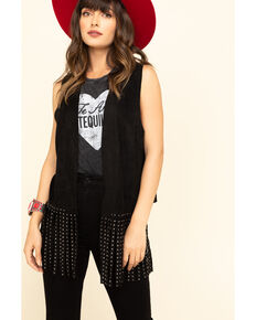 Vocal Women's Studded Fringe Vest , Black, hi-res