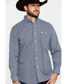 Wrangler Men's Classic Navy Small Geo Print Long Sleeve Western Shirt , Navy, hi-res