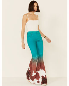 Ranch Dress'n Women's Jade Cowhide Print Super Flare Jeans, Jade, hi-res