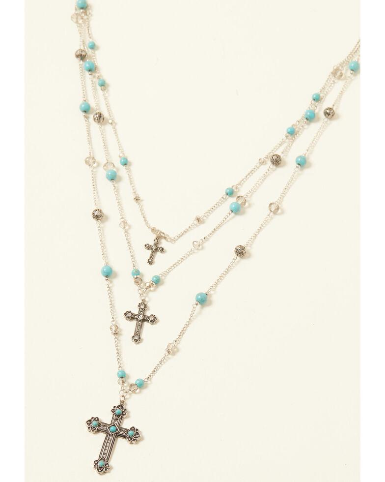 Shyanne Women's Turquoise Cross Three Tier Beaded Cross Set, Silver, hi-res