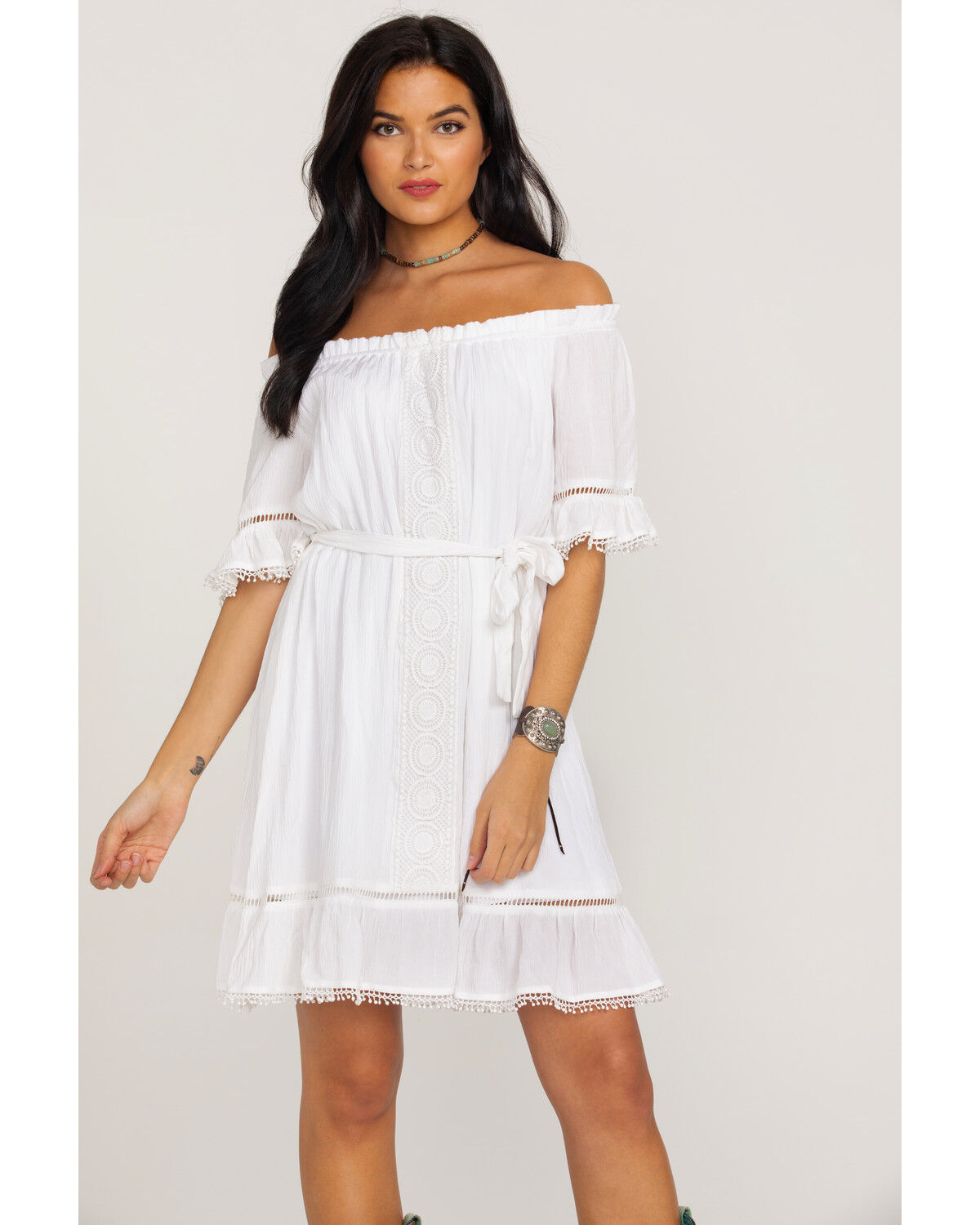 White Lace Dress with Sleeves