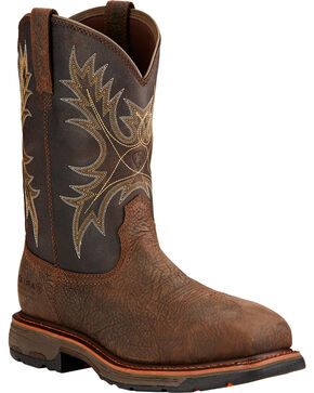 Ariat Workhog H2O Western Boots - Composite Toe, Brown, hi-res