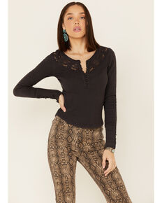 Free People Women's Come On Over Lace Henley Top , Black, hi-res