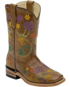 Corral Girls' Brown Multicolor Flower Vine Boots - Square Toe , Brown, hi-res