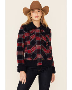 Powder River Outfitters Women's Red & Navy Plaid Button-Front Wool Sherpa Coat , Red, hi-res