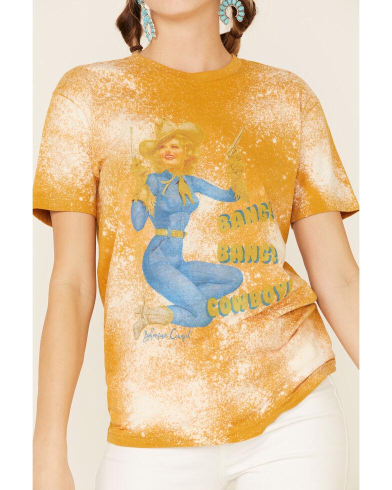 Bohemian Cowgirl Women's Bang Bang Cowboy Bleached Graphic Tee , Mustard, hi-res