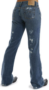 Stetson Women's 816 Fit Distresed Bootcut Jeans, Denim, hi-res