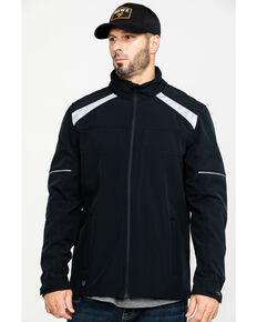 Hawx Men's Black Reflective Polar Fleece Zip-Front Work Moto Jacket - Big, Black, hi-res