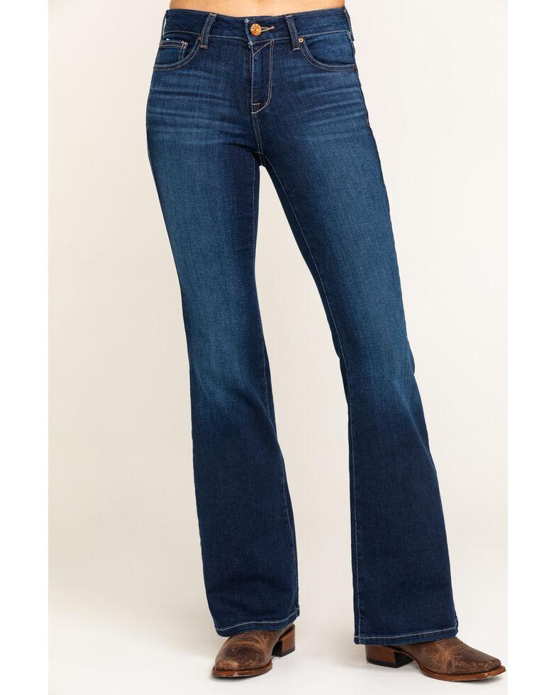 Ariat Women's Dark Ultra Stretch Flare Katie Jeans, Blue, hi-res