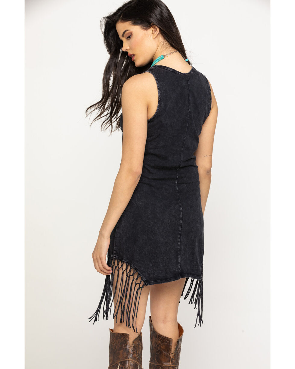 White Crow Women's Black Fringe Barclay Dress, Black, hi-res