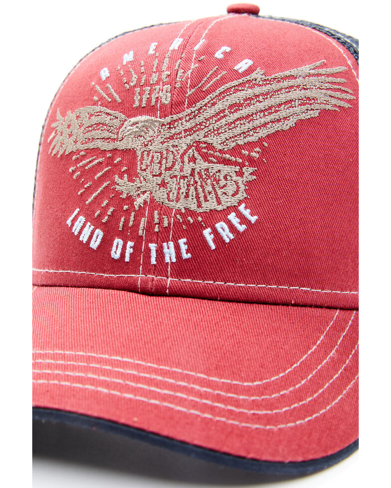 Cody James Men's Land Of The Free Embroidered Mesh-Back Ball Cap , Red, hi-res