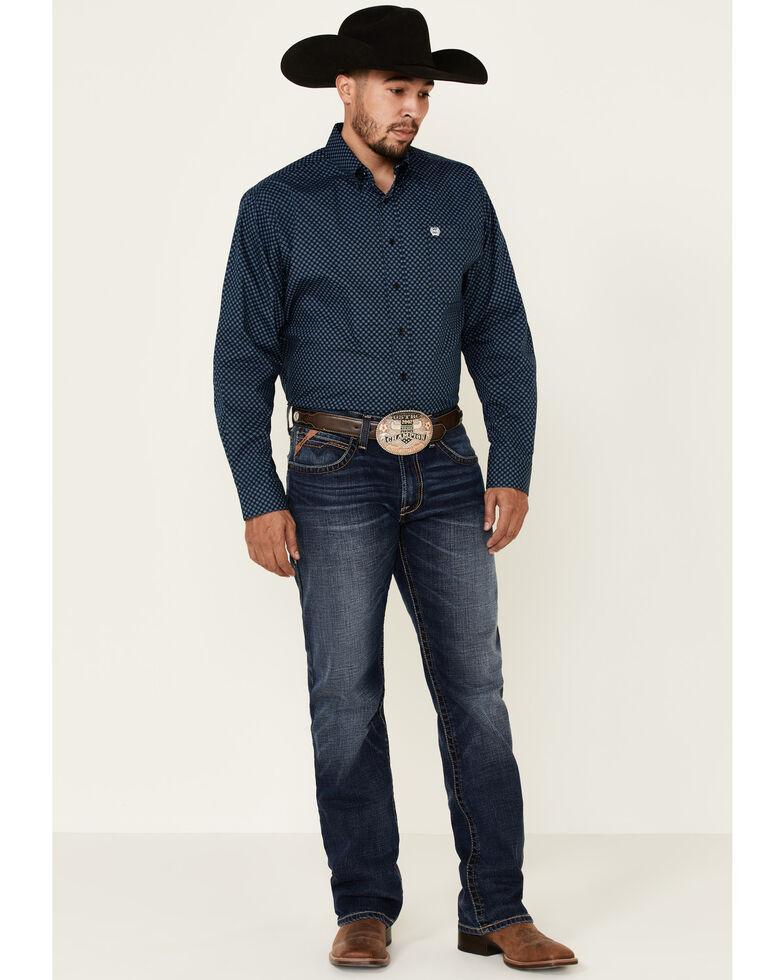 Cinch Men's Black Small Floral Print Long Sleeve Western Shirt - Big , Black, hi-res