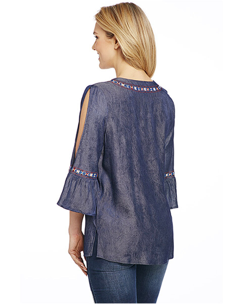Cowgirl Up Women's Geo Embroidered Bell Sleeve Peasant Top, Black, hi-res