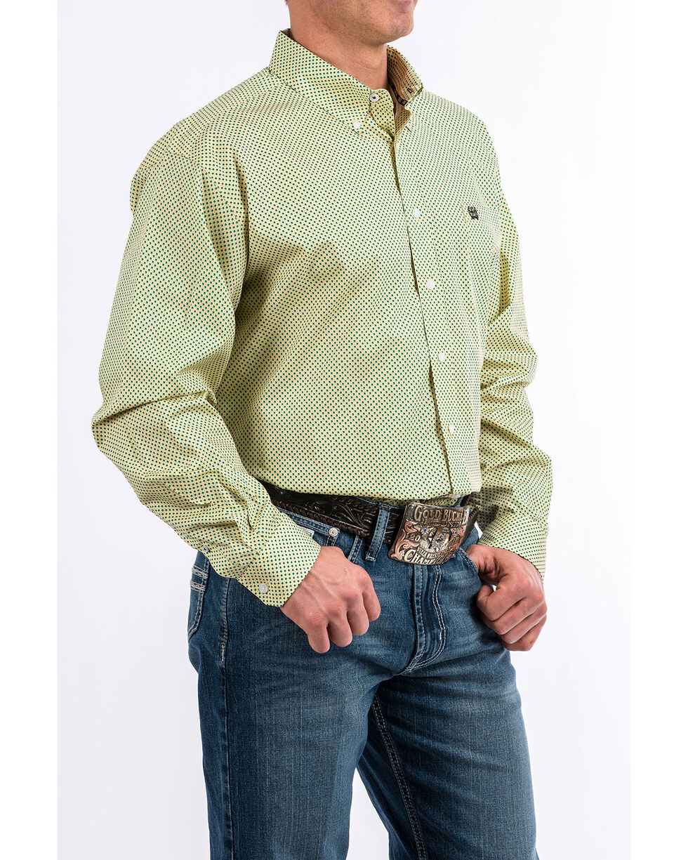 Cinch Men's Yellow Geo Print Long Sleeve Western Shirt , Yellow, hi-res
