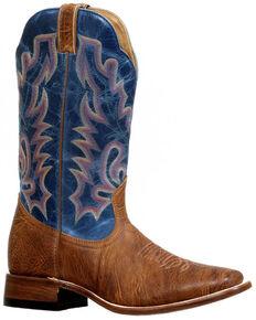 Boulet Men's Stockman Cowboy Boots - Wide Square Toe, Brown, hi-res