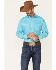 Roper Men's Solid Light Blue Long Sleeve Snap Western Shirt , Blue, hi-res