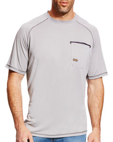 Ariat Men's Rebar Sunstopper Short Sleeve Shirt - Big & Tall, Grey, hi-res