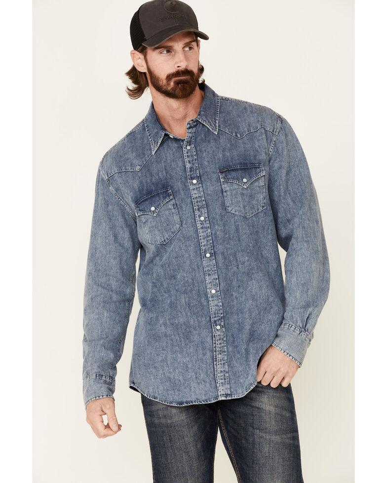 Rock & Roll Denim Men's Blue Washed Denim Long Sleeve Western Shirt , Blue, hi-res