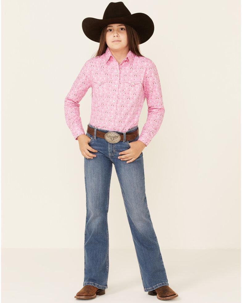 Panhandle Girls' Pink Teepee Print Long Sleeve Western Shirt , Pink, hi-res