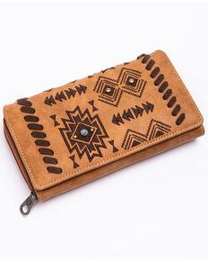 Shyanne Women's Harper Aztec Print Faux Leather Wallet , Brown, hi-res