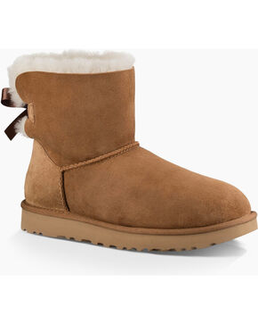 UGG Women's Chestnut Mini Bailey Bow II Boots - Round Toe , Chestnut, hi-res