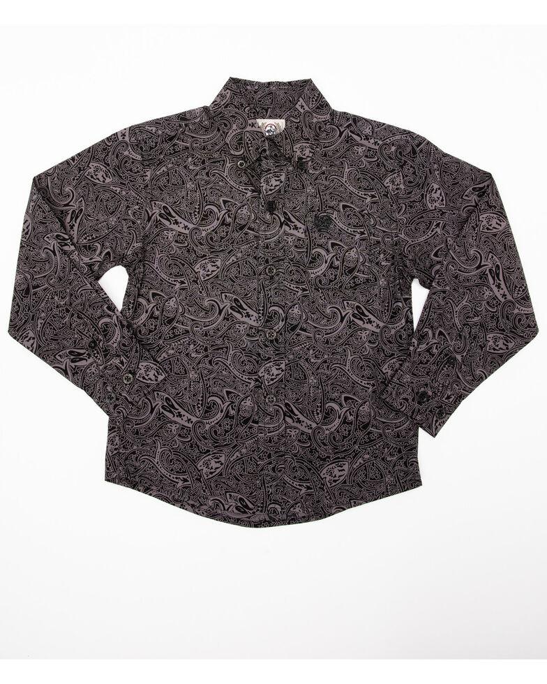 Cinch Boys' Black Paisley Print Long Sleeve Western Shirt , Black, hi-res