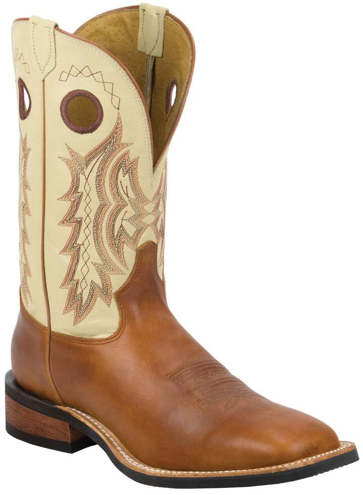 Tony Lama Men's Suntan Rebel Americana Cream Top Cowboy Boots - Square Toe , Suntan, hi-res