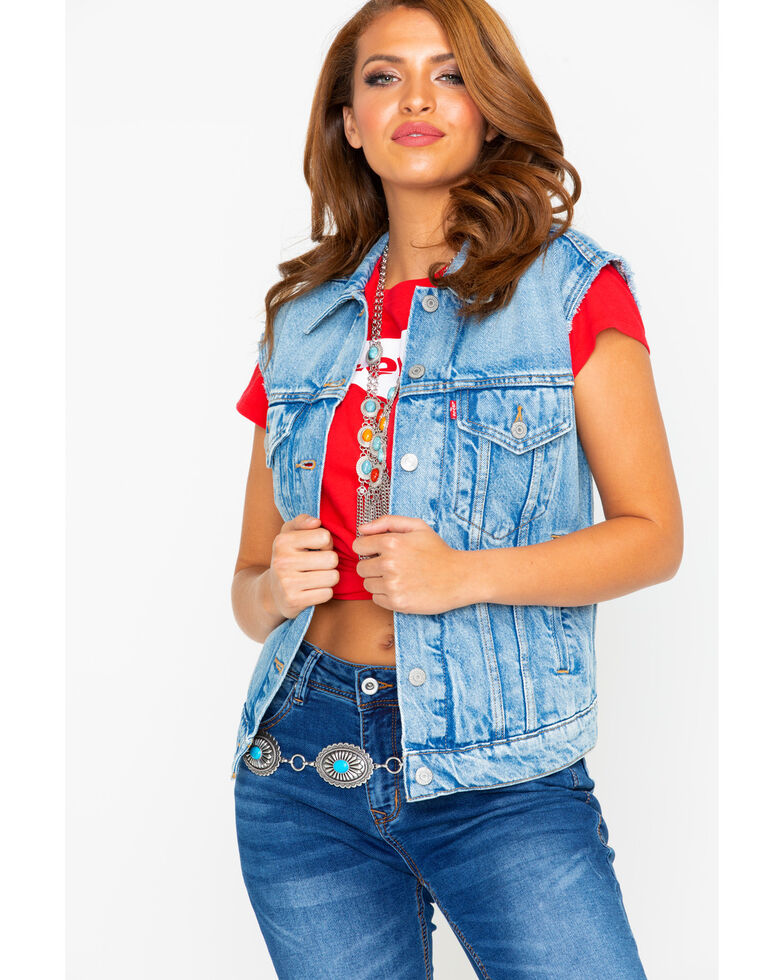 Levis Women's Free Spirited Light Denim Vest , Blue, hi-res