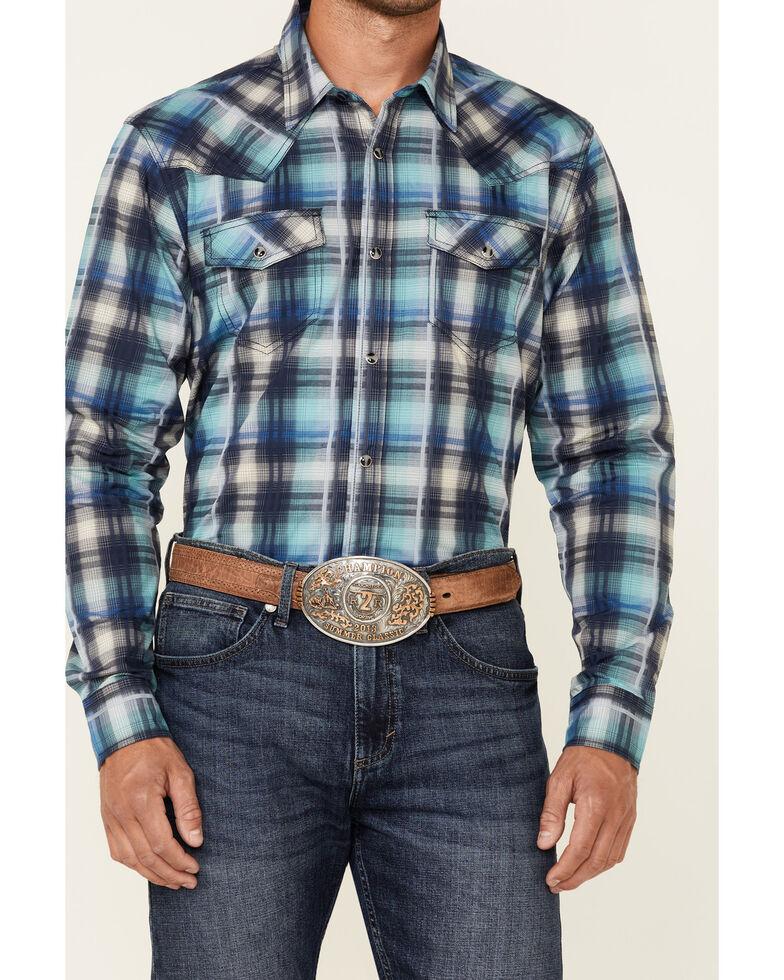 Cody James Men's Mission Large Plaid Long Sleeve Snap Western Shirt - Big & Tall, Blue, hi-res
