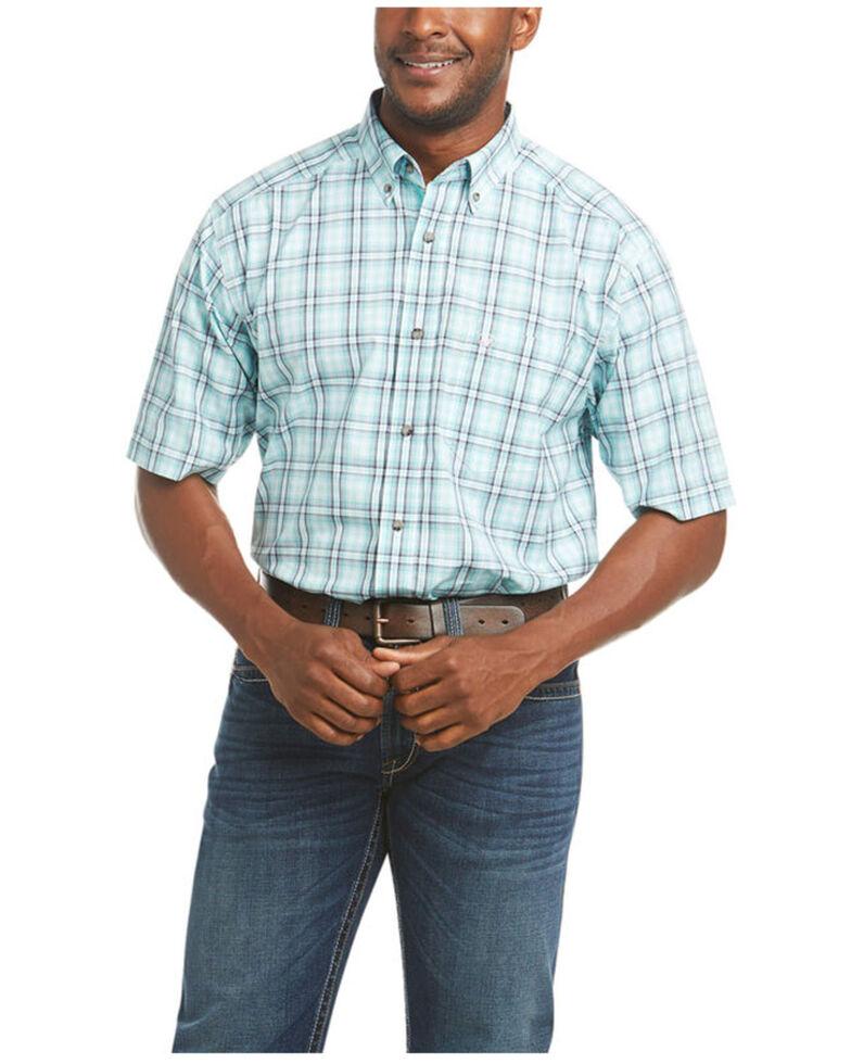 Ariat Men's Pierson Stretch Plaid Short Sleeve Button-Down Western Shirt - Tall, Aqua, hi-res