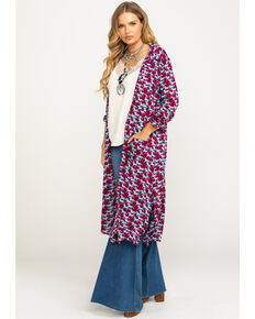 Five Star Women's Stampede Print Kimono , Multi, hi-res