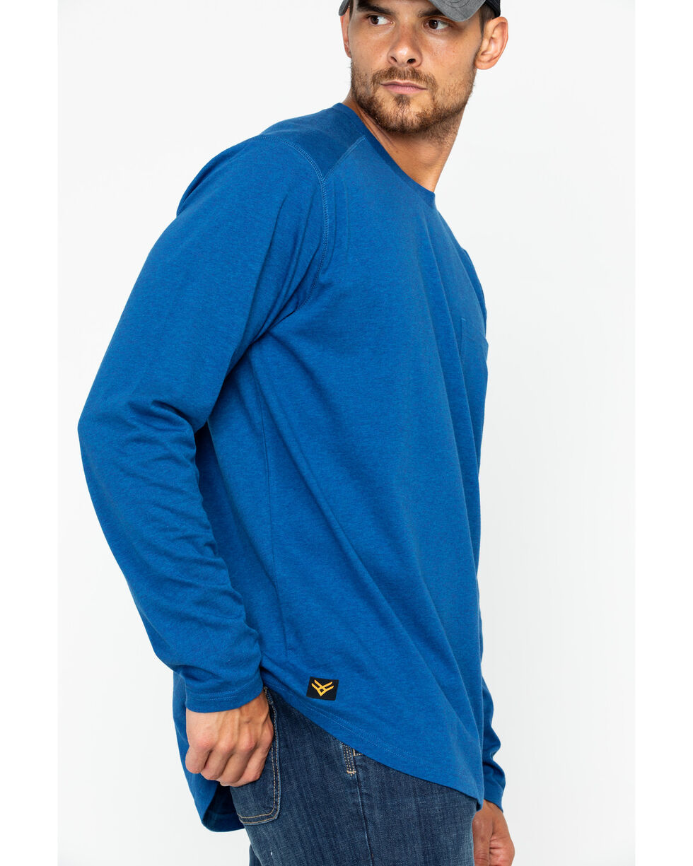 Hawx® Men's Solid Pocket Crew Tee - Big & Tall , Heather Blue, hi-res