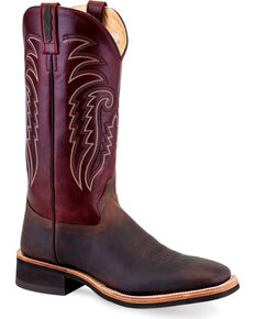 """Old West Men's 13"""" Two Tone Leather Cowboy Boots - Square Toe, Brown, hi-res"""