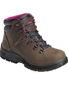 Avenger Women's Waterproof Lace-Up Work Boots - Round Toe, Brown, hi-res